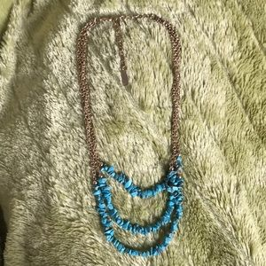 Faux Turquoise & Gold Tiered Necklace Sugarfix